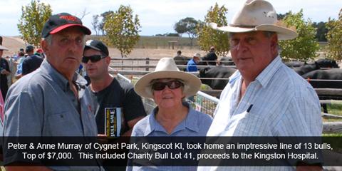 Peter & Anne Murray of Cygnet Park took home an impressive line of 13 bulls.