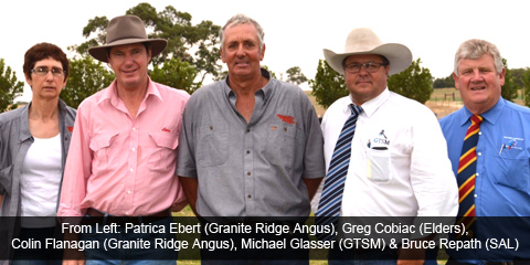 Patricia Ebert (Granite Ridge Angus), Greg Cobiac (Elders), Colin Flanagan (Granite Ridge Angus), Michael Glasser & Bruce Repath