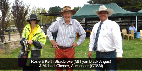 Rosie & Keith Stadbroke (Mt Fyan Black Angus) & Michael Glasser, Auctioneer